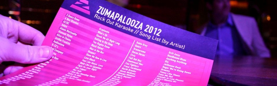Rock Out Karaoke song list - Zumapalooza 2012